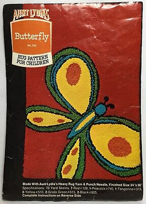 Vintage Aunt Lydia's #104 BUTTERFLY Punch Needle Cotton Rug Foundation Stamped