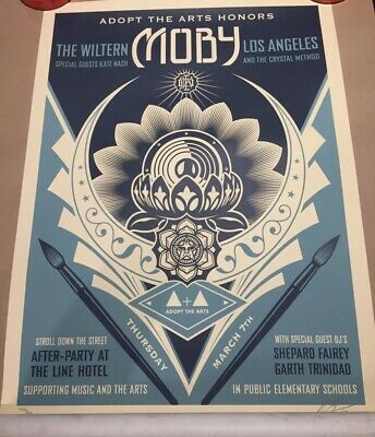 *IN HAND* SIGNED Shepard Fairey Obey Giant Adopt the Arts Lotus Art Print Poster