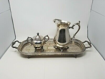 """WM Rogers Rectangular 25"""" Silverplate Chased Footed Tray, Pitcher & Sugar Bowl"""
