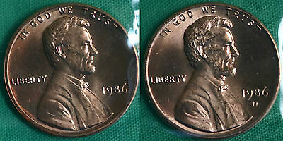 1986 P and D Lincoln Cent 2-Coin from US Mint Set UNC Cello One Cent Penny Set