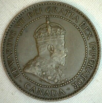 1906 Copper Canadian Large Cent Coin 1-Cent Canada XF K1