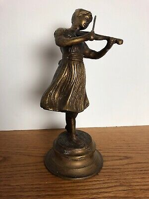 Brass Musician Heavy Cast Antique Girl With Violin Statue