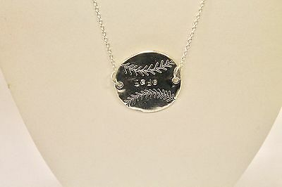 Personalized Hand Stamped Baseball Softball Connector Pendant Necklace