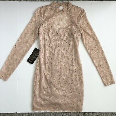 bebe Longsleeve Open Back Lace Dress - Rose (Blush) - Size M