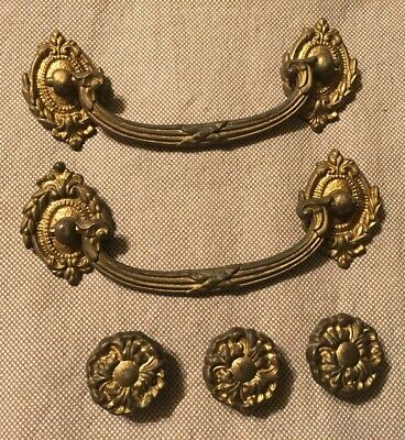 Lot 5 French Provincial Antique Gold Finish Scroll Cabinet Drawer Pulls Handles