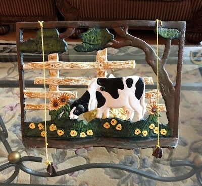 VINTAGE CAST IRON COW On FARM RECIPE/COOKBOOK HOLDER WITH WEIGHTS  & DINNER BELL