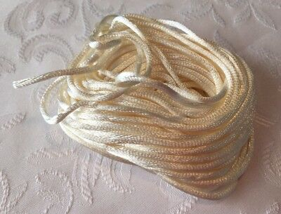 3Mx2mm Satin Jewellery Rope Cord DIY Nylon Baby Child Safe Necklace String White
