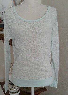 PINK Womens XS Top Baby Blue Sheer Floral Lace Crew Neck Long Sleeves