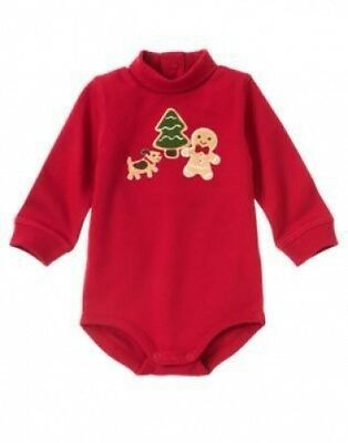 NWT~Gymboree GINGERBREAD BOY with dog red turtleneck long sleeved bodysuit~3-6