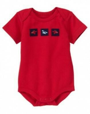 NWT~Gymboree BEACH CRAWLER red s/s crab lobster patch one-piece b/s shirt~0-3