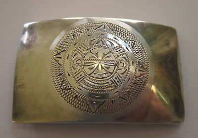 Solid .925 Sterling Silver Hand Engraved  Belt Buckle, (coin/bullion)