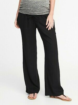 3ccd41dc85cdc Old Navy Maternity Roll Over Panel Linen Blend Pants Size S- Black- NWT