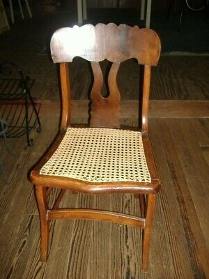 Early Mahogany Cane Seat Chair Vintage Antique Side STO