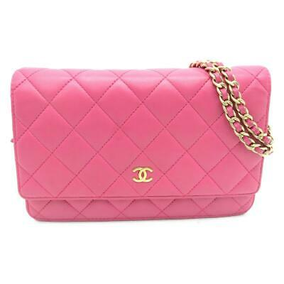 f5f6a1acc9198b Chanel Matelasse CC GHW Wallet on Chain WOC Lambskin Leather Pink 3583