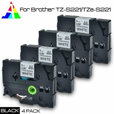 4pk TZ-S221/TZe-S221 P-Touch Compatible for Brother Black on white Tape 9mm