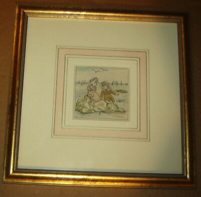 Kate Greenaway Kg Children Lithograph Print Beach Seashore Sailboats Framed Mat