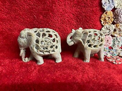 New Handcarved Stone Good Luck Elephant & Baby Intricate Filigree Detail Design