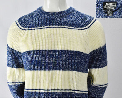 Expressions Mens Vintage White Blue Striped Sweater Biggie Cosby Ski Acrylic L