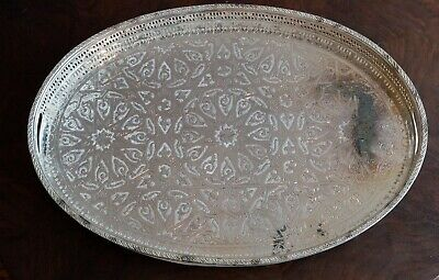 Antique Vintage Islamic Silver Plated Large Tray