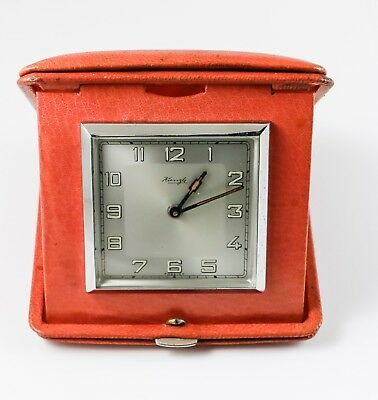 ANTIQUE VINTAGE TRAVEL CLOCK ART DECO KIENZLE c.1940