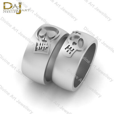 Skull Bands 2pc His and Her Promise Rings Wedding Band Set Couples Free Shipping