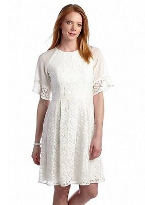 Adrianna Papell Allover White Lace A Line Dress Sz 10