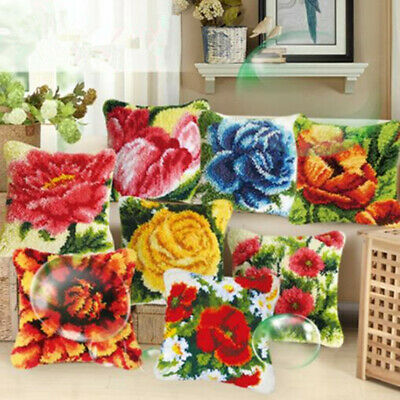 Decorative Flower Latch Hook Kits Embroidery Pillow Case Cushion Cover 37x37cm