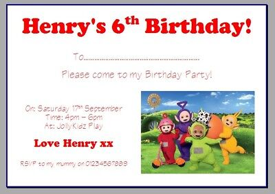Personalised Photo Paper Card Birthday Party Invites Invitations TELETUBBIES 3