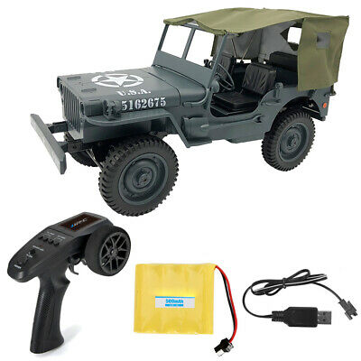 1:10 Military Jeep Remote Control Buggy 4WD RC Car Truck Off-Road Removable Tent