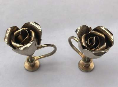 Vintage 1960'S Silver Plated Rose Screw Back Earrings, Signed Royal Crest