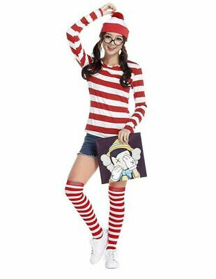 Womens Girls Red and white Striped Full Sleeve Shirt Fancy Dress Book Week Top