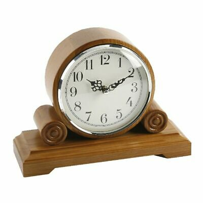 Barrel Shape Oak Finish Scroll Wooden Mantel Clock Arabic Dial 18 X 20 X 9 cm