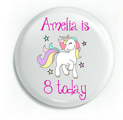 Personalised Unicorn Pink Girl Happy Birthday Unique Metal Pin Badge