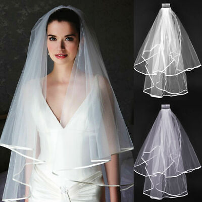 White Ivory Pearl Satin Edge Bridal Wedding Elbow Length Veil  Comb UK Store