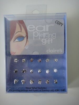 CLAIRE'S EAR PIERCING gift set inc 9 pairs of earrings