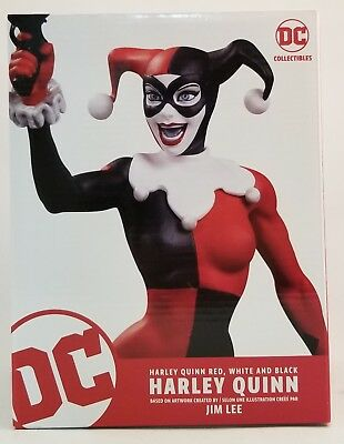 "DC Collectibles Harley Quinn Red White And Black 6.7"" Statue By Jim Lee ~NEW~"