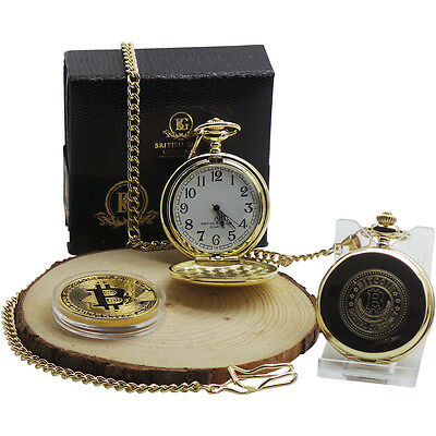 BITCOIN and 24k Gold Clad Pocket Watch Luxury Gift for Digital Currency Wallet