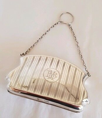 A antique silver plated purse. Suspended on an link chain,with a finger ring .