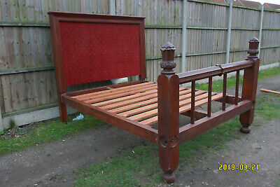 Large Vintage Heavy Wooden Bed Frame & Headboard.