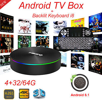 T95Q 4+32/64G Android 8.1 Quad Core Smart TV Box WIFI HDMI With Backlit Keyboard