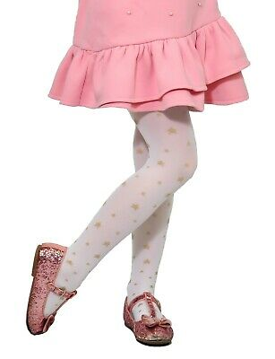 dde2d28d685 Girls Kids Golden Stars Pattern White Tights Everyday Party Special Occasion