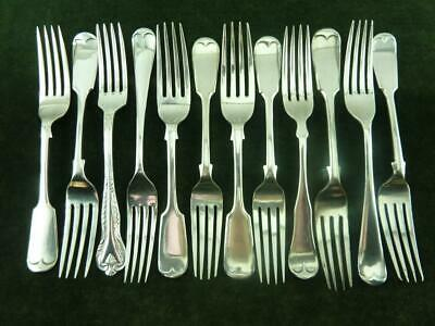 12 Vintage Dinner Table Forks mixed patterns silver plated mixed makers #1