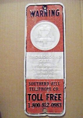 Southern Bell Telephone Antique Metal Sign Vintage Cable Warning Mancave South