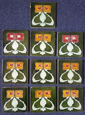 10 x Antique MINTON HOLLINS Art Nouveau Roses Tile c.1905 'Mackintosh' See photo