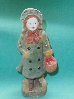 """antique porcelain figurine, girl with hat, coat and basket, 4.16"""", Germany"""