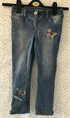 Girls Kids Next Blue Denim Butterfly Embroidered Jeans Age 4 Yrs / 104cm