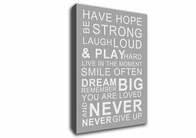 Typography White /& Black quote Have Hope be strong Ready to Hang Canvas X1861