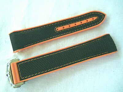 20MM RUBBER+FABRIC STRAP BLACK&ORANGE&DEPLOY CLASP for 42mm OMEGA SEAMASTER600
