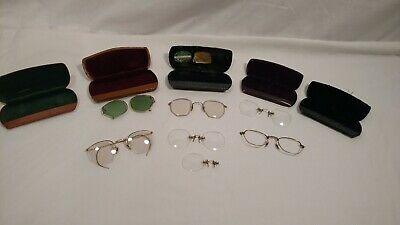 Lot of 7 Antique/ Vintage Eye Glasses & 5 Hard Cases, 1 W/Arms, Frames & Lenses