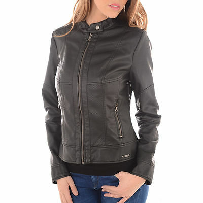 design de qualité 16579 60b08 GUESS CLARENCE BLOUSON Veste similicuir Femme Noir Jacket Black faux  leather M
